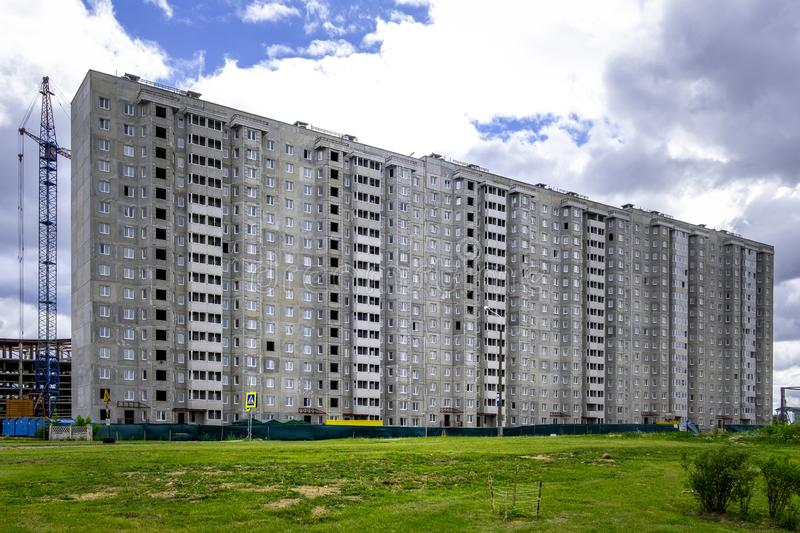 Construction of multi storey residential building in Minsk. Construction of multi storey residential building in Minsk, Belarus stock image