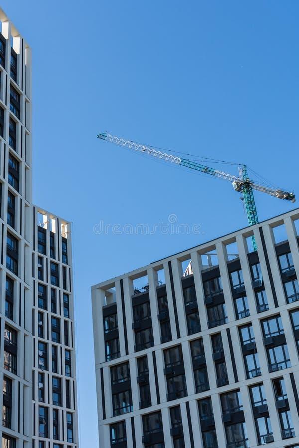 Construction of multi-storey residential buildings. Construction of residential buildings, new multi-storey houses in Kiev, the capital of Ukraine stock photos