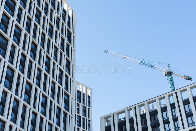 Construction of multi-storey residential buildings. Construction of residential buildings, new multi-storey houses in Kiev, the capital of Ukraine stock image