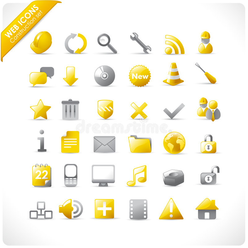 Construction and mutimedia icons royalty free illustration