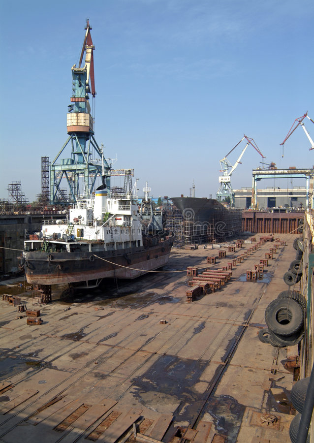 Construction navale, réparation de bateau photo stock