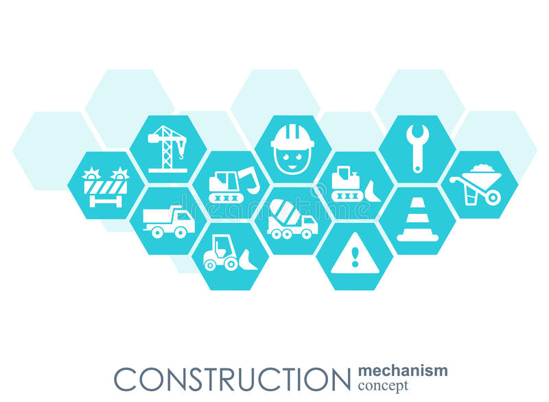 Construction network hexagon abstract background with for Contractors network