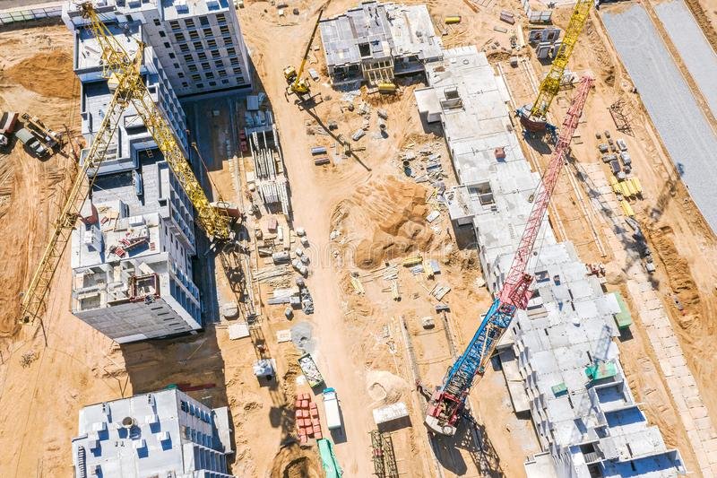 Construction of new apartment building. aerial view stock image