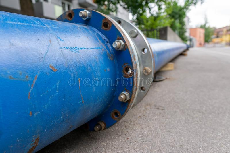 Construction of a new energy pipeline of Oil or Gas pipeline,Pipes at a construction site to be used in a new energy royalty free stock image