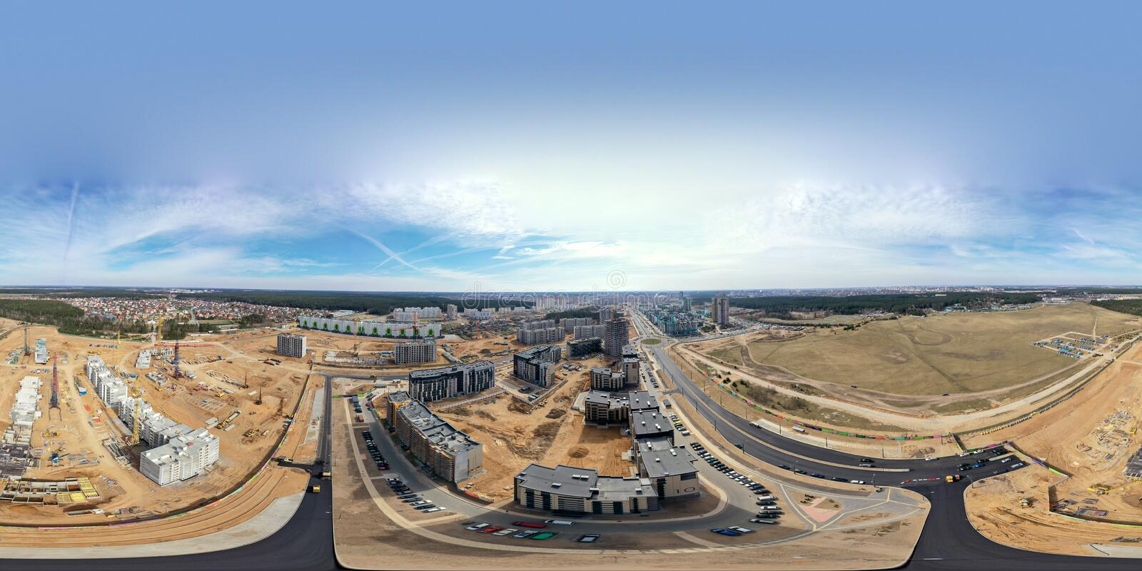 Construction of new buildings in the city residential area. panoramic aerial view stock images