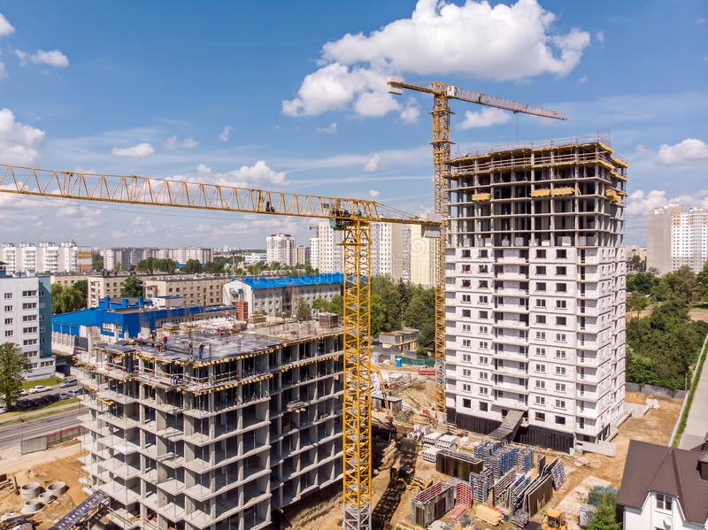 Construction of new city residential area stock photo