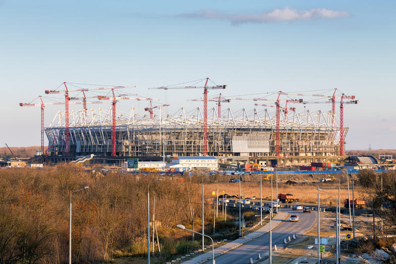 Construction of new football stadium in Rostov-on-Don. Russia stock photography