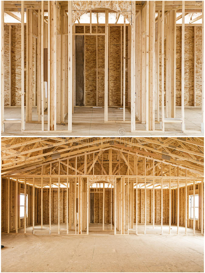 Construction new house dimension lumber osb collage. New home construction using dimension lumber and osb panels sheeting partial construct of building wooden royalty free stock images