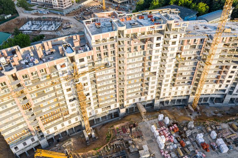 Construction of new multistory apartment building. aerial top view royalty free stock images