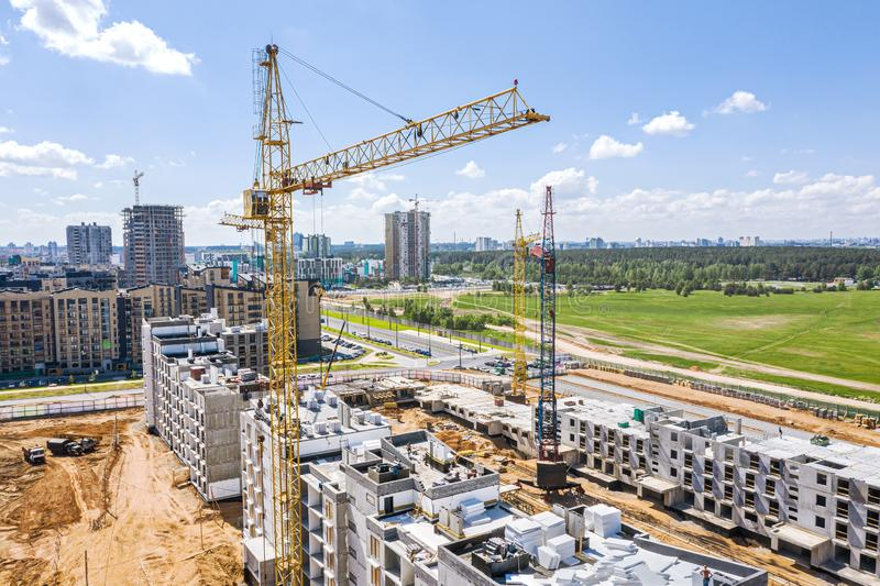 Construction of new multistory apartment buildings. aerial view royalty free stock photography
