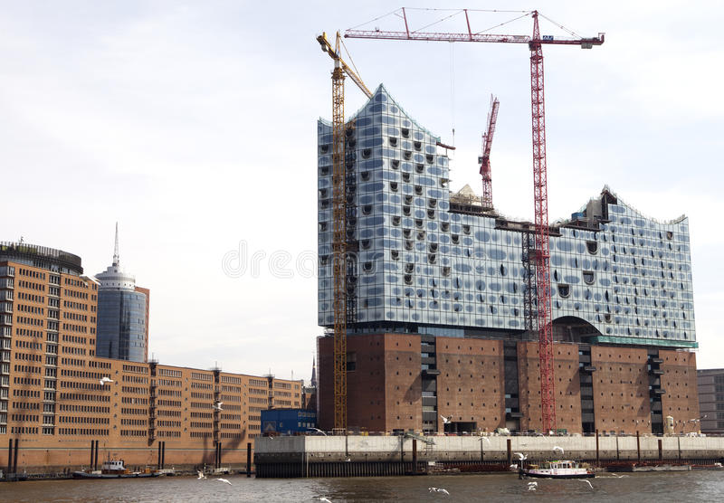 Construction of new opera house in Hamburg royalty free stock image