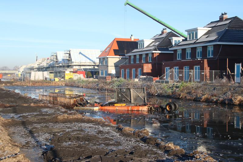 Construction of new residential district Esse Zoom Laag in NIeuwerkerk aan den IJssel in the Netherlands. royalty free stock images