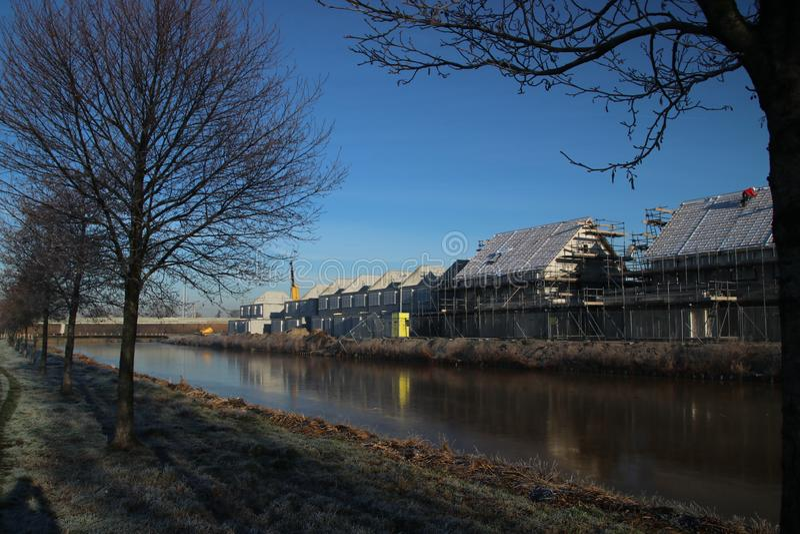 Construction of new residential district Esse Zoom Laag in NIeuwerkerk aan den IJssel in the Netherlands. stock photos