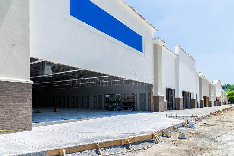 Retail Construction Nearing Completion. Construction of a new strip shopping center is nearing Completion royalty free stock images