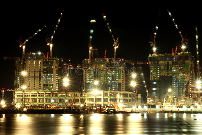 Construction at night. stock photos