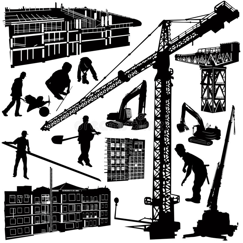 Construction objects vector royalty free illustration