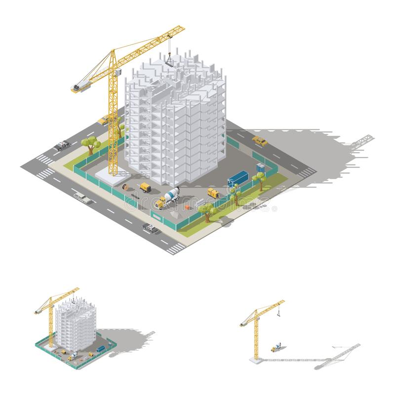Free Construction Of House, Monolithic Frame Of The Building Isometric Low Poly Icon Set Royalty Free Stock Images - 107765729