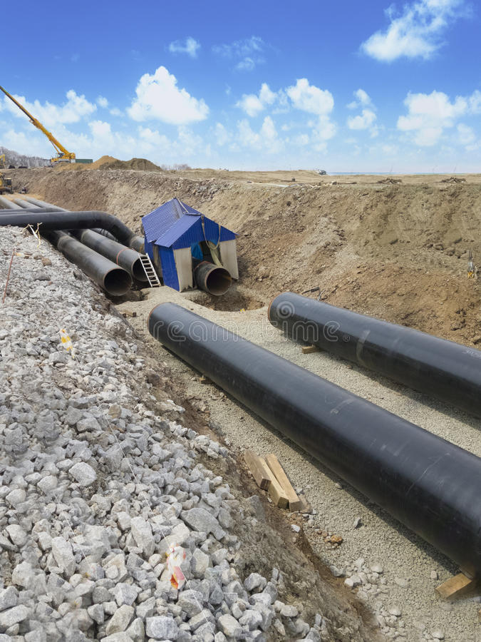Construction of the oil pipeline. royalty free stock photos