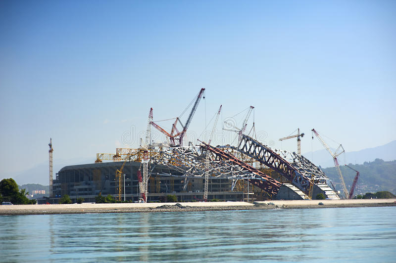 Construction of Olympic facilities in Sochi. Building an ice palace stock image