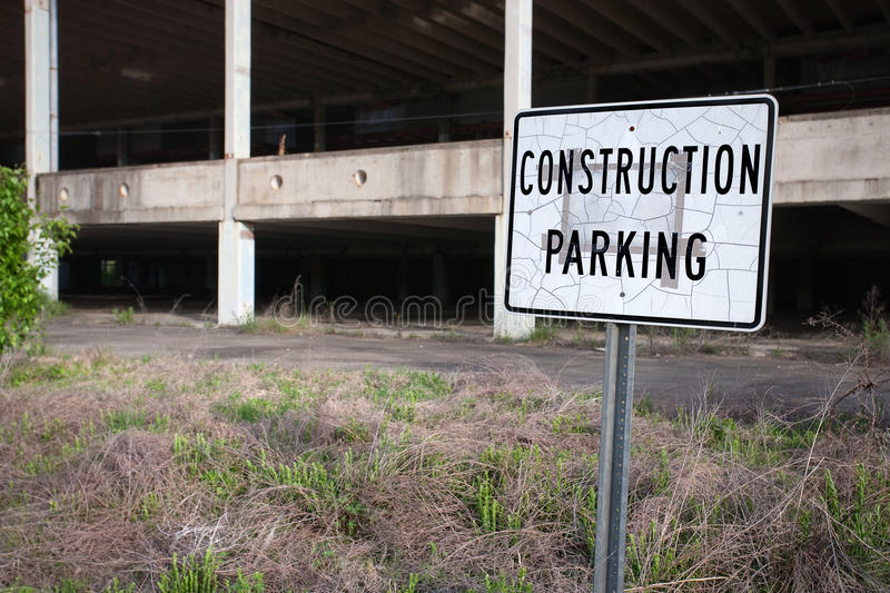 Construction parking sign stock image