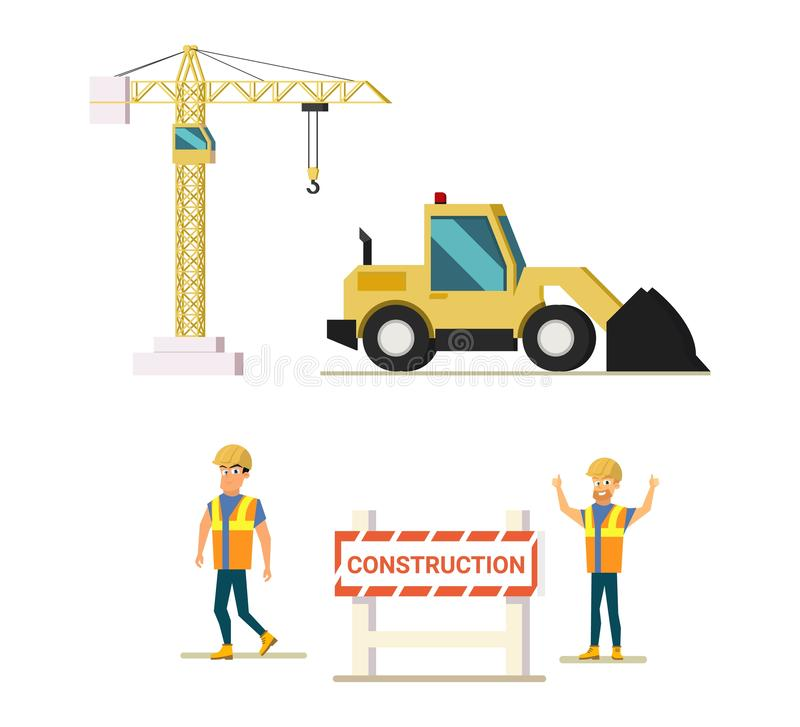 Modern Construction Industry Flat Vector Icons Set royalty free illustration
