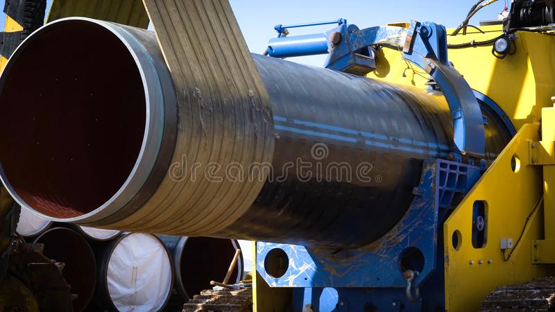 Construction of the pipeline. Site construction. Construction ma. Chinery stock photos