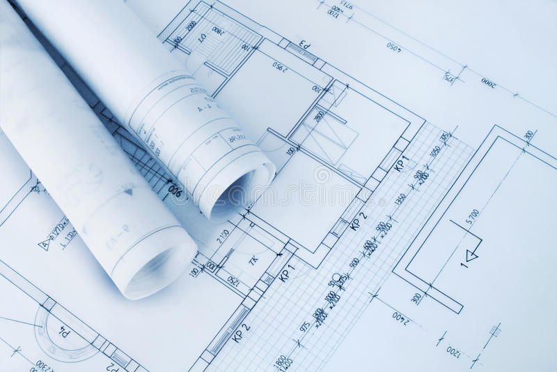 Construction plan blueprints royalty free stock image