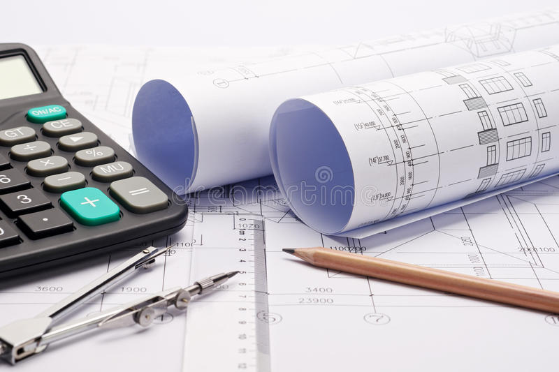 Download Construction Plan Blueprints With Tools Stock Photo - Image: 25371770