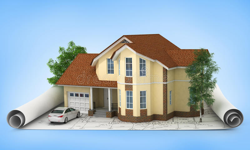 Construction Plan With House And Wood 3D Stock Photo - Image: 43904428