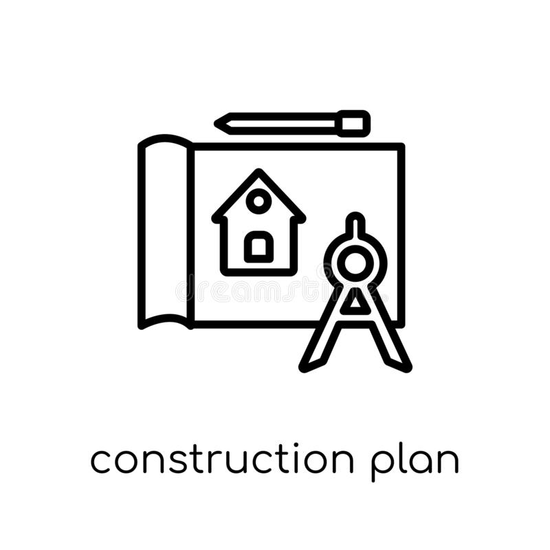 Construction plan icon. Trendy modern flat linear vector Construction plan icon on white background from thin line Construction c. Ollection, editable outline vector illustration