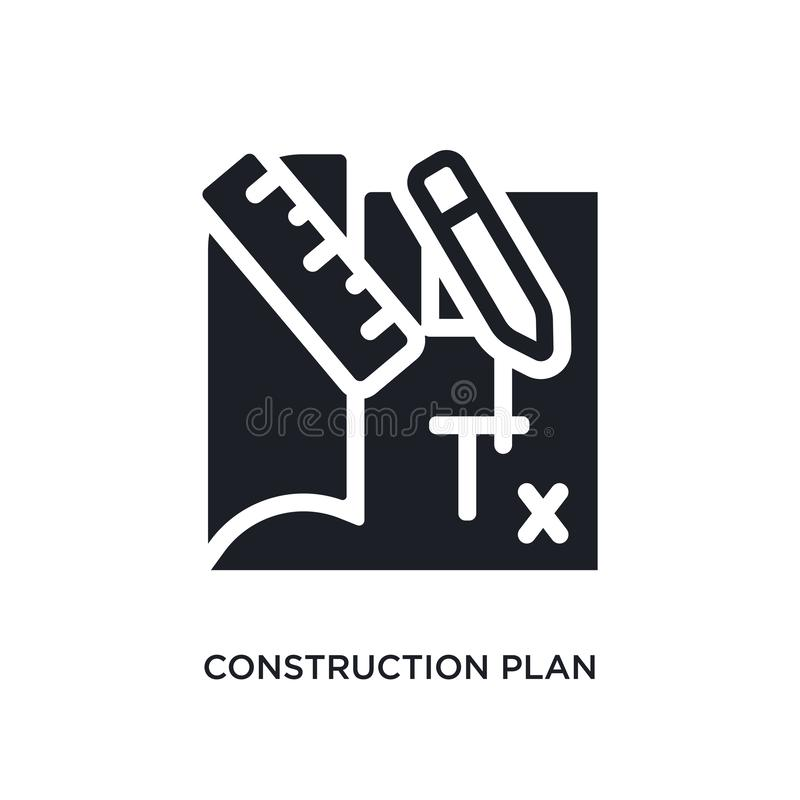 Construction plan isolated icon. simple element illustration from construction concept icons. construction plan editable logo sign. Symbol design on white royalty free stock photography
