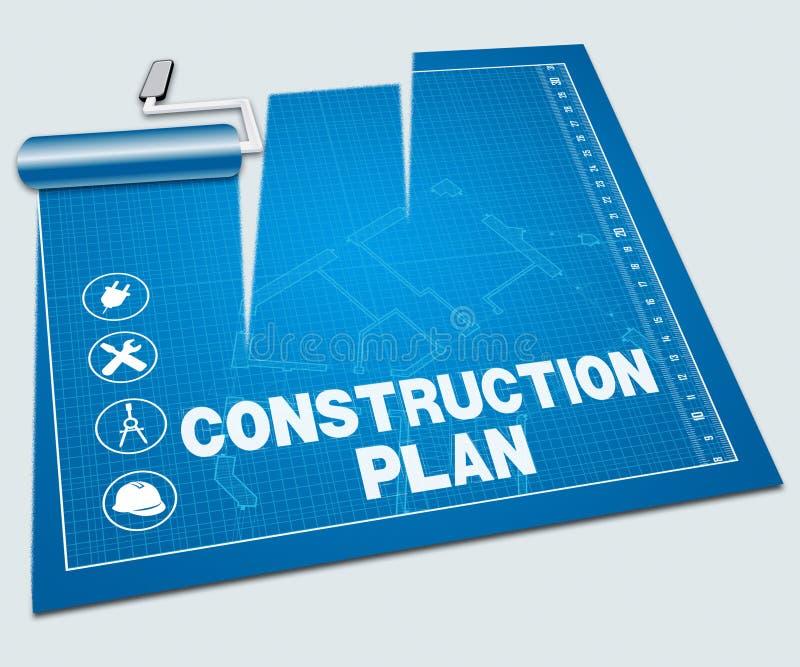 Construction Plan Shows Building Blueprint 3d Illustration stock illustration