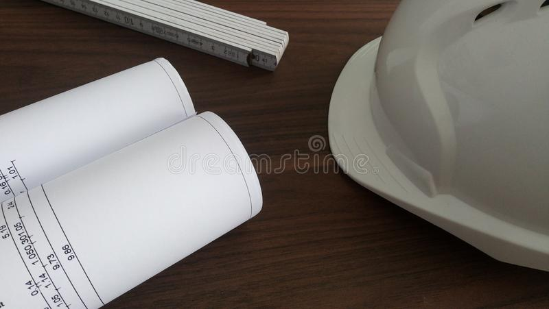 Construction planning office desk royalty free stock photo