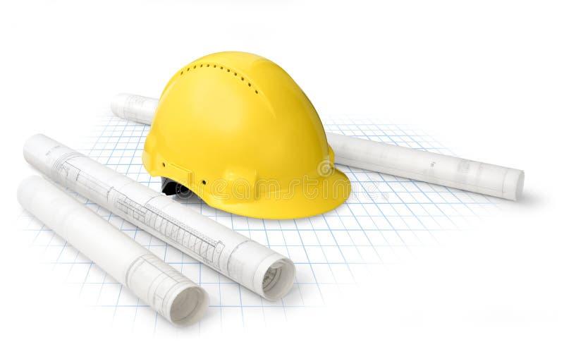 Construction plans stock photo