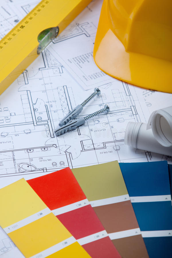 Construction Plans stock image