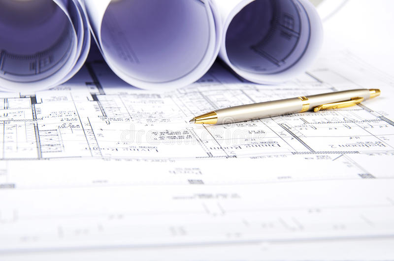 Construction plans, ball pen, business collage. Paperwork royalty free stock photography