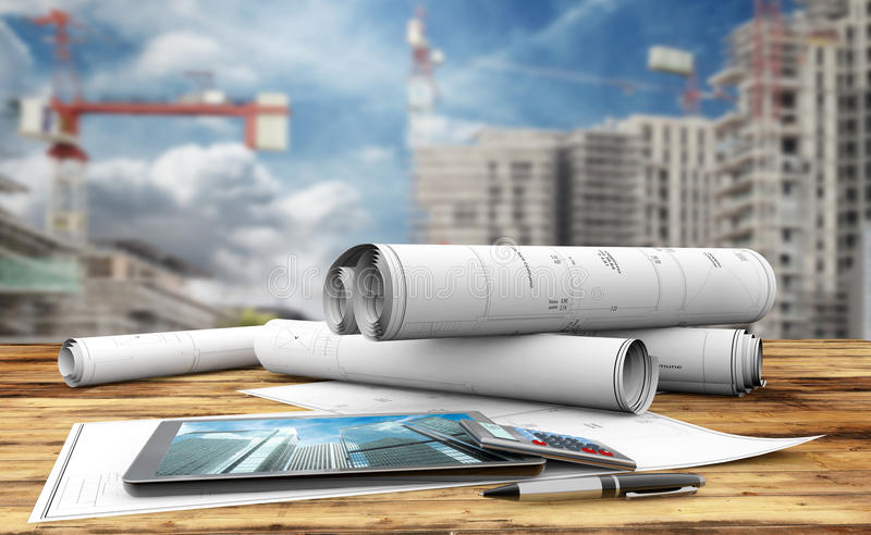 Construction plans. Blueprints, tablet, calculator and pen in a construction site stock illustration