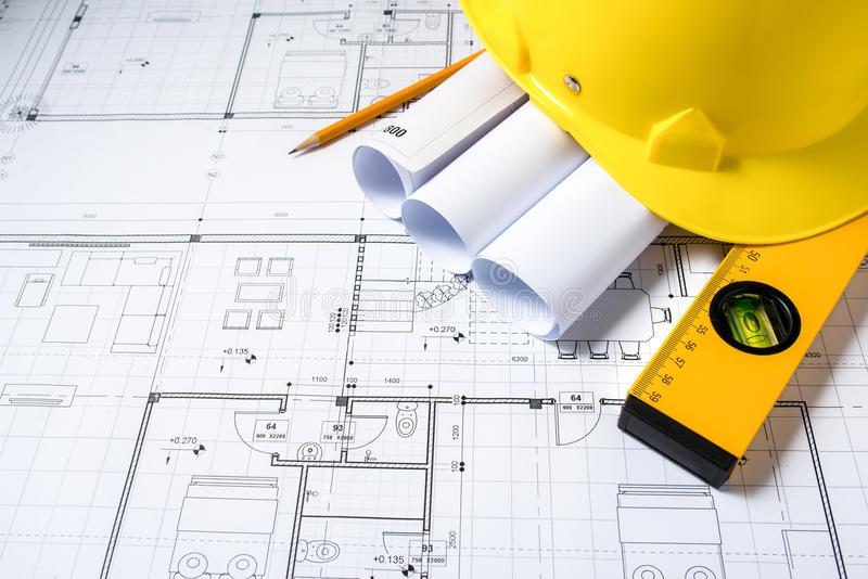Construction plans with helmet and drawing tools on blueprints stock download construction plans with helmet and drawing tools on blueprints stock image image of blueprint malvernweather Images