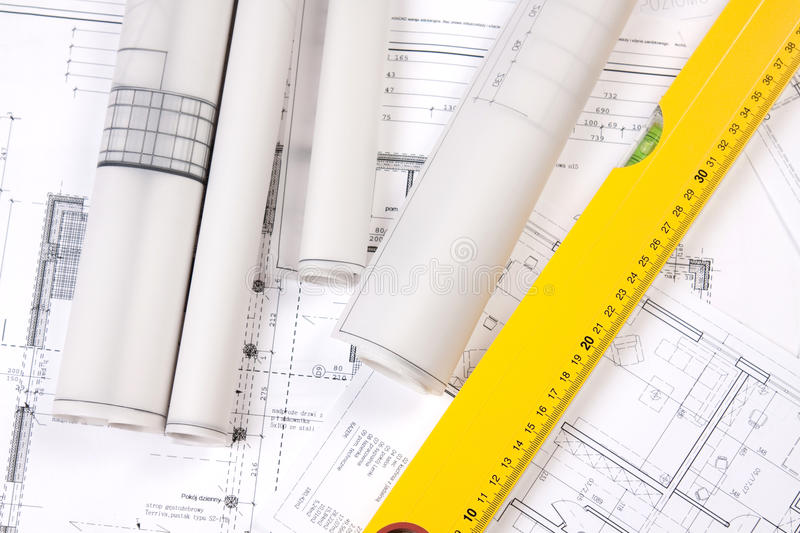 Download Construction Plans And Ruler Royalty Free Stock Image - Image: 12711606