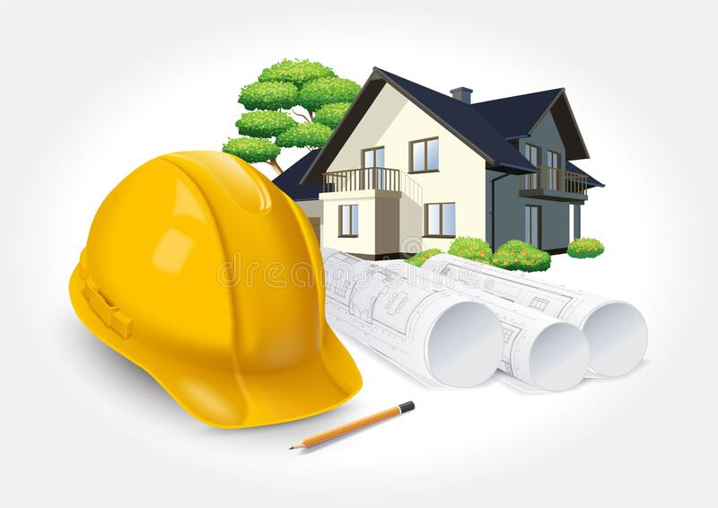 Construction plans and yellow helmet on the background of a dream house. Yellow protective helmet, plans and dream house royalty free illustration