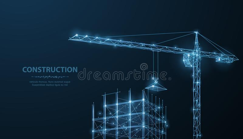 Construction. Polygonal wireframe building under crune on dark blue night sky with dots, stars. royalty free illustration