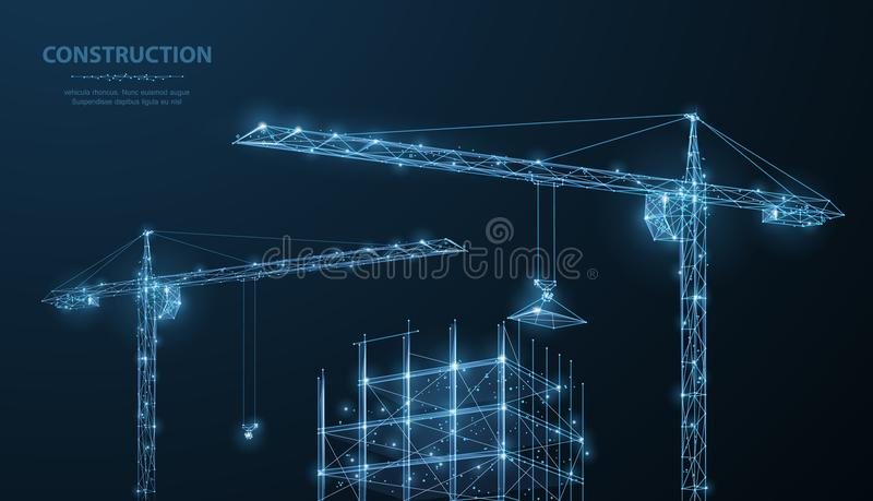 Construction. Polygonal wireframe building under crune on dark blue night sky with dots, stars. Construction, development, architecture or other concept stock illustration