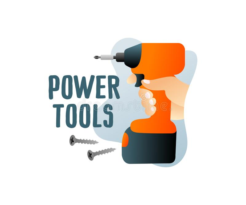 Construction power tools and cordless tools with screws, illustration and logo design. Holds in hand cordless electric screwdriver vector illustration