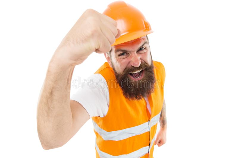 Construction power you can rely on. Construction worker flex strong arm isolated on white. Construction engineer or stock image