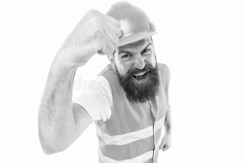 Construction power you can rely on. Construction worker flex strong arm isolated on white. Construction engineer or royalty free stock photos