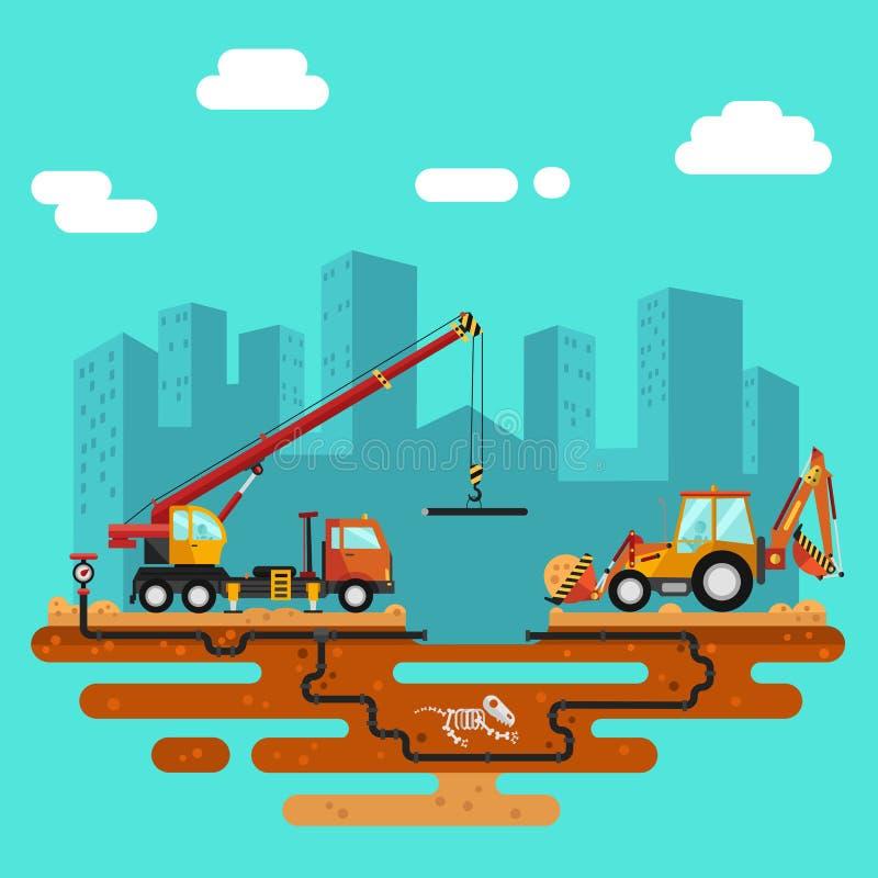 Construction process, city landscape vector illustration