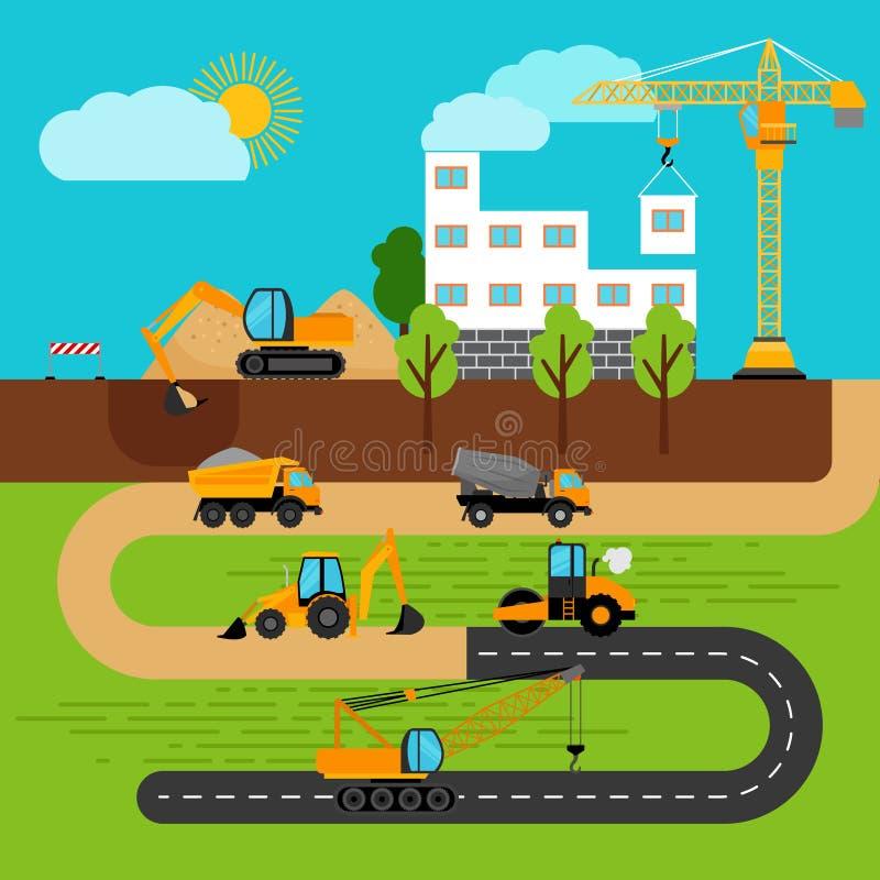 Construction process illustration royalty free illustration