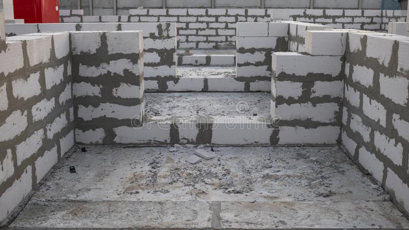 Construction process of a house of white aerated concrete blocks. Doorways. Construction process of a one-story house of white aerated concrete blocks. Doorways stock images