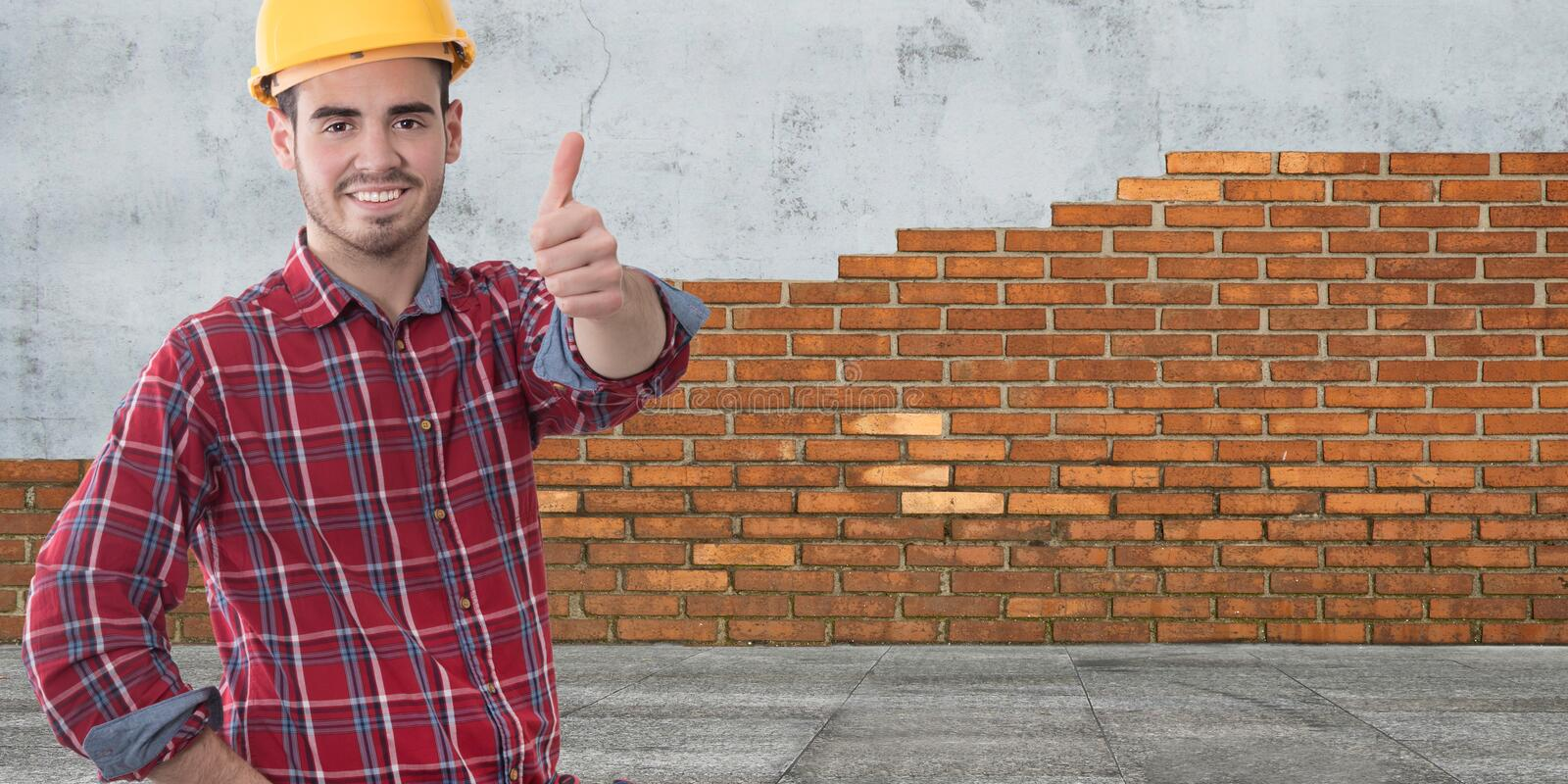 Construction professional with okay sign stock photo
