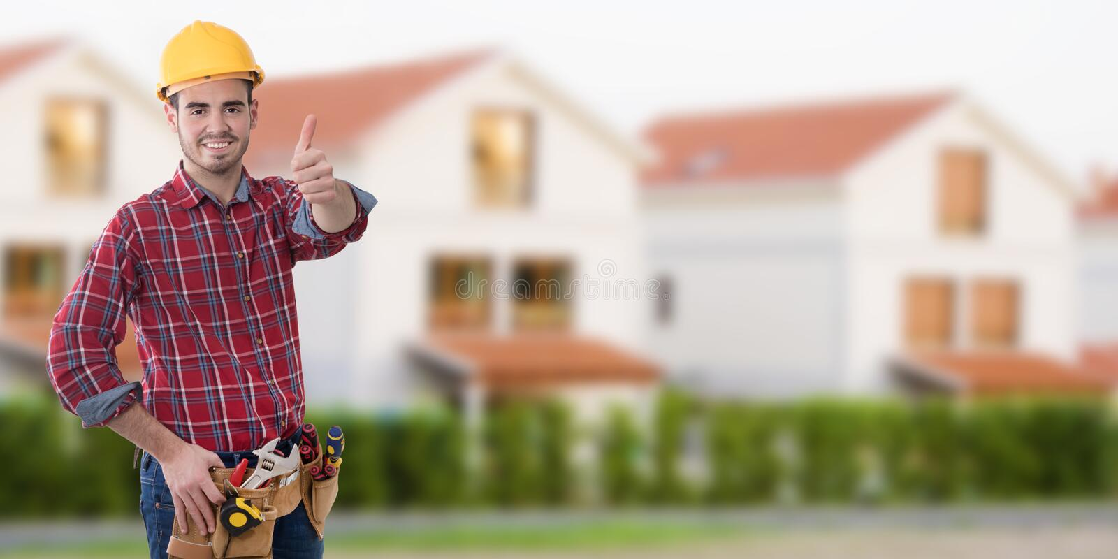 Construction professional with okay sign stock photos